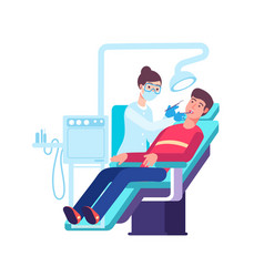 dentist and patient doctor checking patients vector image