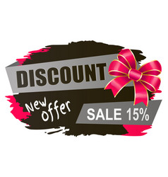 Discount 15 percent off sale new offer banner vector