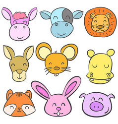 Doodle set animal head colorful vector