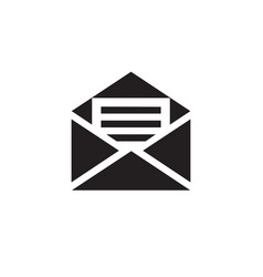 e-mail black icon on white background vector image