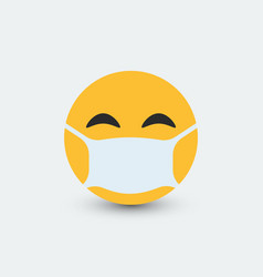 Emoji with mouth mask vector