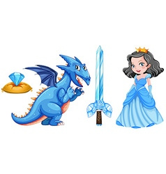 Fairytales set with princess and dragon vector