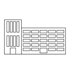 Figure city school building line sticker vector