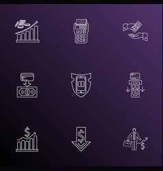 finance icons line style set with business success vector image