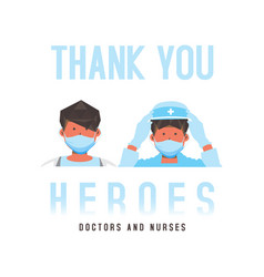 Flat thank you doctors and nurses for medical vector