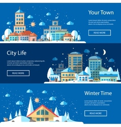 Flat urban winter landscape compositions vector