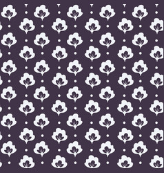 floral cotton field with dots seamless pattern vector image