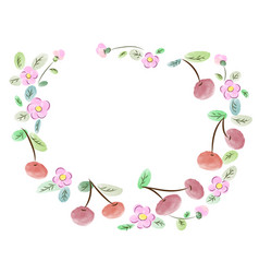 Frame made of cherries and flowers vector