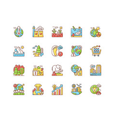 Global warming rgb color icons set vector