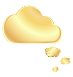 Golden blank speech bubble in the form of a cloud vector