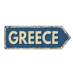 greece vintage rusty metal sign vector image