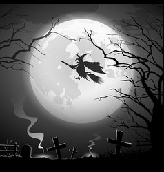 halloween party witch ride concept scary vector image