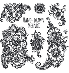 Hand-drawn mehendi flowers set vector