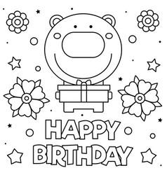 happy birthday coloring page vector image