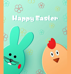 happy easter easter bunny and chick vector image