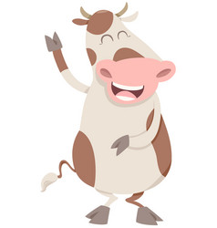 happy spotted cow character vector image