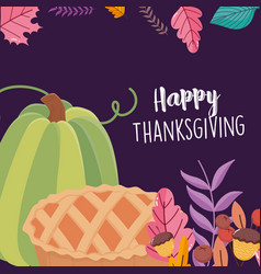 Happy thanksgiving day green pumpkin and cake vector