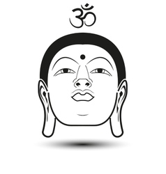 Head buddha with om mantra vector
