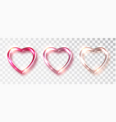 hearts set shades pink color for valentine s vector image