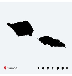 High detailed map of Samoa with navigation pins vector