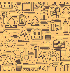Hiking and camping seamless pattern in line style vector