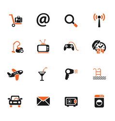 hotel service icon set vector image