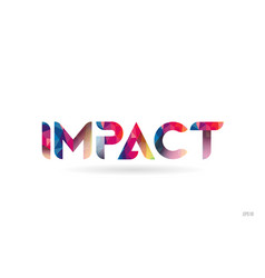 Impact colored rainbow word text suitable for vector