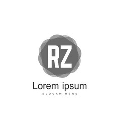 initial rz logo template minimalist letter logo vector image