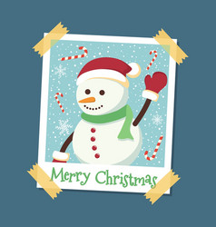instant photo frame snowman christmas vector image