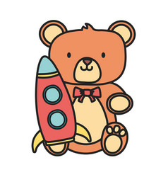 Kids toy teddy bear and plastic rocket toys vector