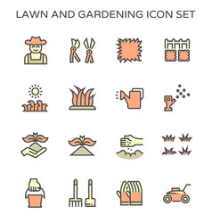 Lawn and gardening ico set design vector