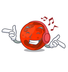 Listening music mars planet mascot cartoon vector