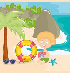 little boy with swimsuit on beach character vector image