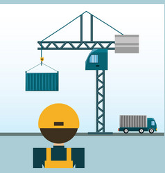 logistic agent with container and crane vector image