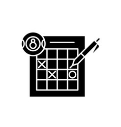 Lottery black icon sign on isolated vector