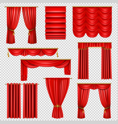 Luxury red curtains transparent set vector