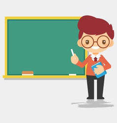 Male teacher at blackboard vector