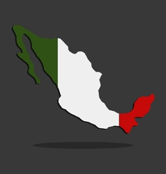 Map of Mexico with flag vector image