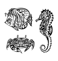 Marine life in doodling style vector