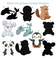 match pictures to their shadows child game vector image