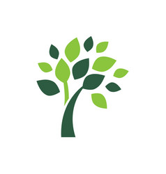 Minimalist green tree logo symbol vector