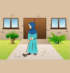 muslim woman sweeping the trash vector image