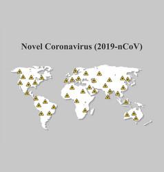 Novel coronavirus covid-19 on world map spread of vector