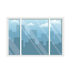 Office interior and building city sky view vector