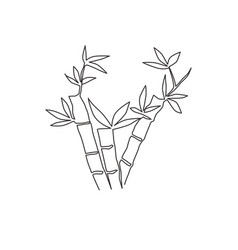 one continuous line drawing bamboo trees vector image