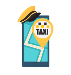 online taxi booking phone with hat and map vector image