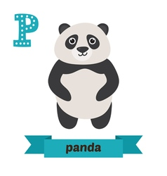 Panda P letter Cute children animal alphabet in vector