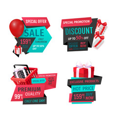 Presents shopping basket inflatable balloon labels vector