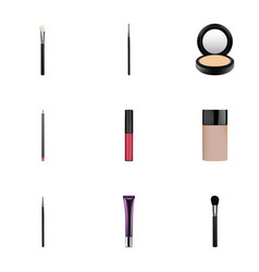 realistic beauty accessory brush liquid lipstick vector image vector image