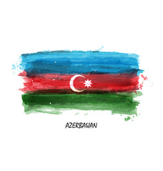 realistic watercolor painting flag of azerbaijan vector image